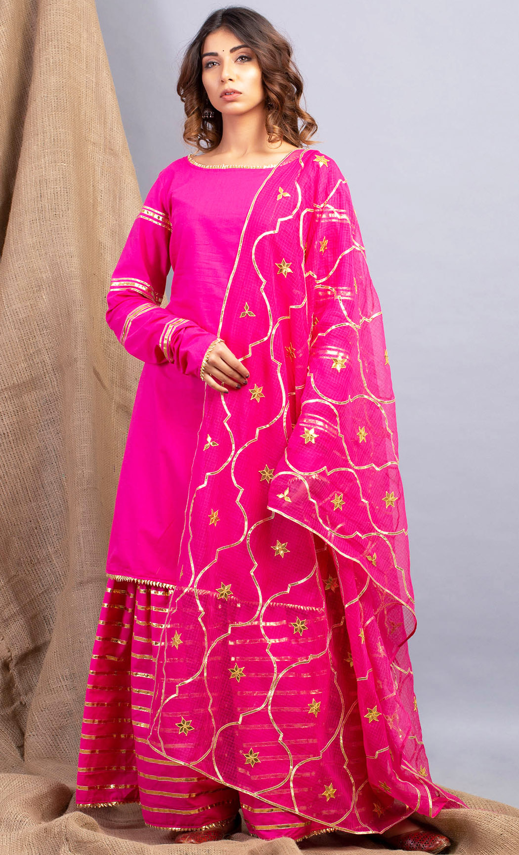 Umrao Gulabo Pink Kurta and Sharara Set. Buy Online.