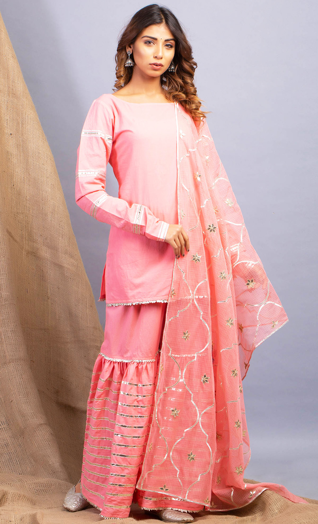 Umrao Amaltras Peach Kurta and Sharara Set. Buy Online.