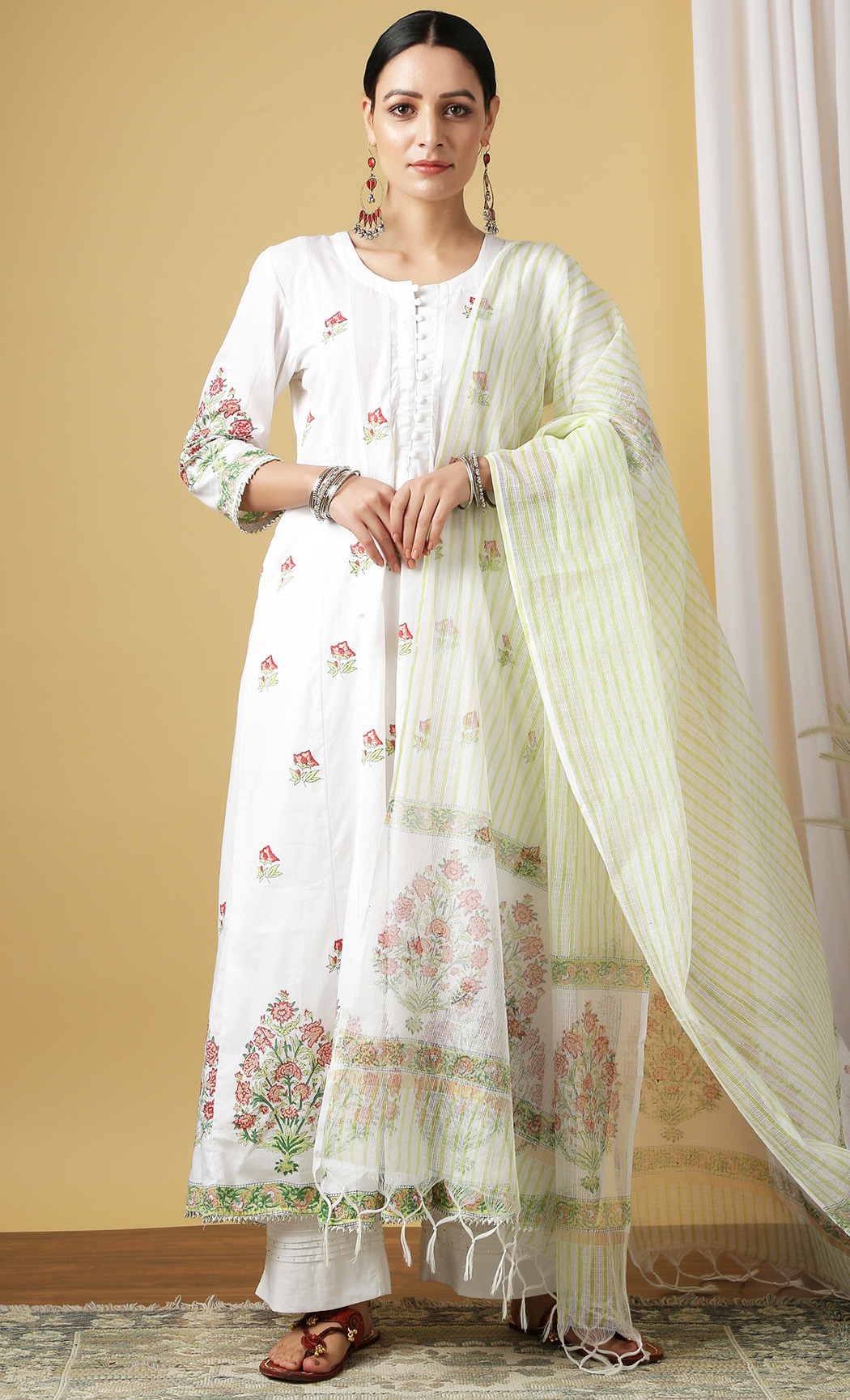 Kumudini Shwet White Kurta and Dupatta Set. Buy Online.