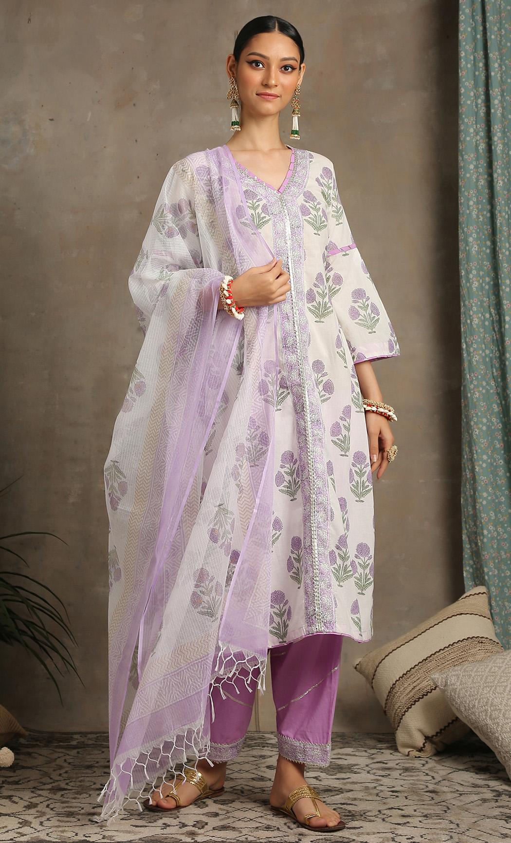 Sahar - Lavender Kurta Set. Buy Online