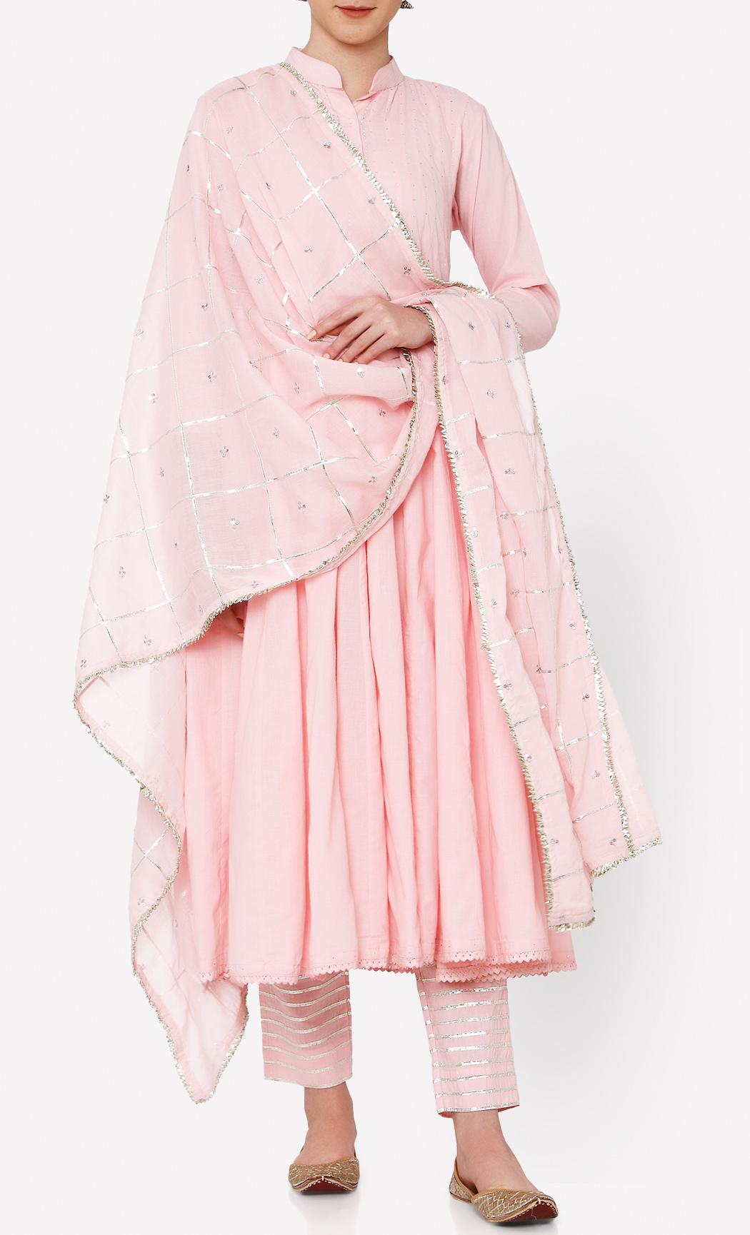 Zubeida Pink Kurta and Pants Set. Buy Online.