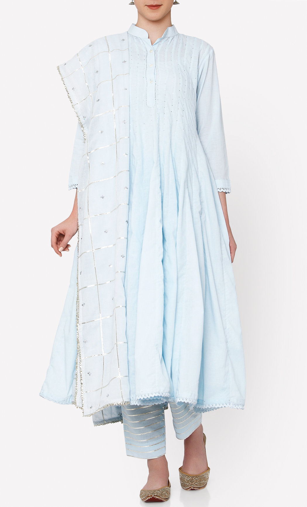 Zubeida Powder Blue Kurta and Pants Set. Buy Online.