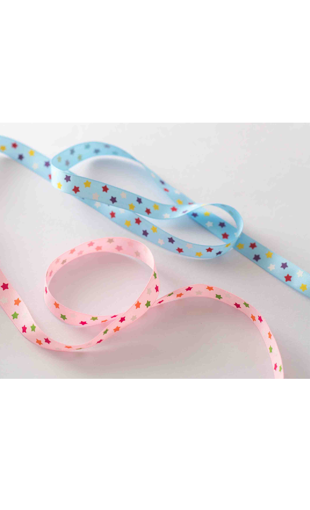Thin Pink Ribbon with Multicolored Stars - Buy Online