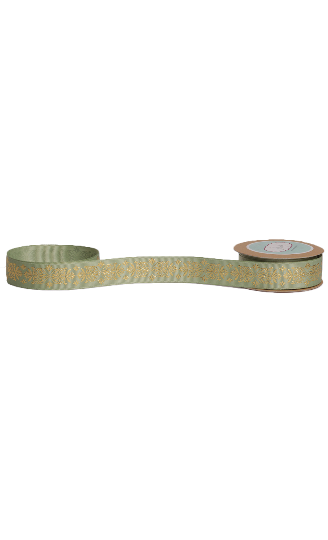 Moss Green Gold Foiled Ribbon - Buy Online