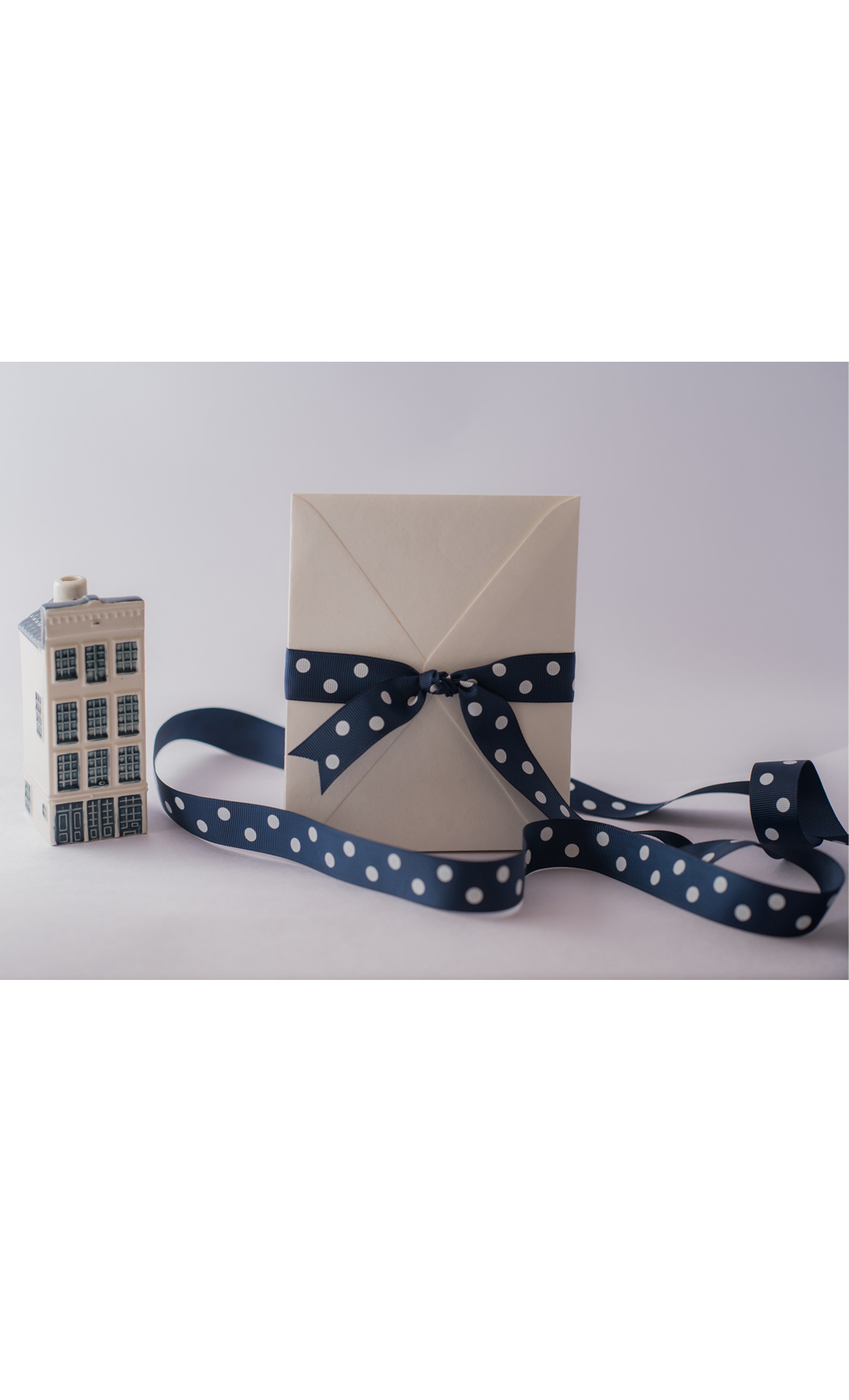 Navy Blue Ribbon with White Polka Dots - Buy Online