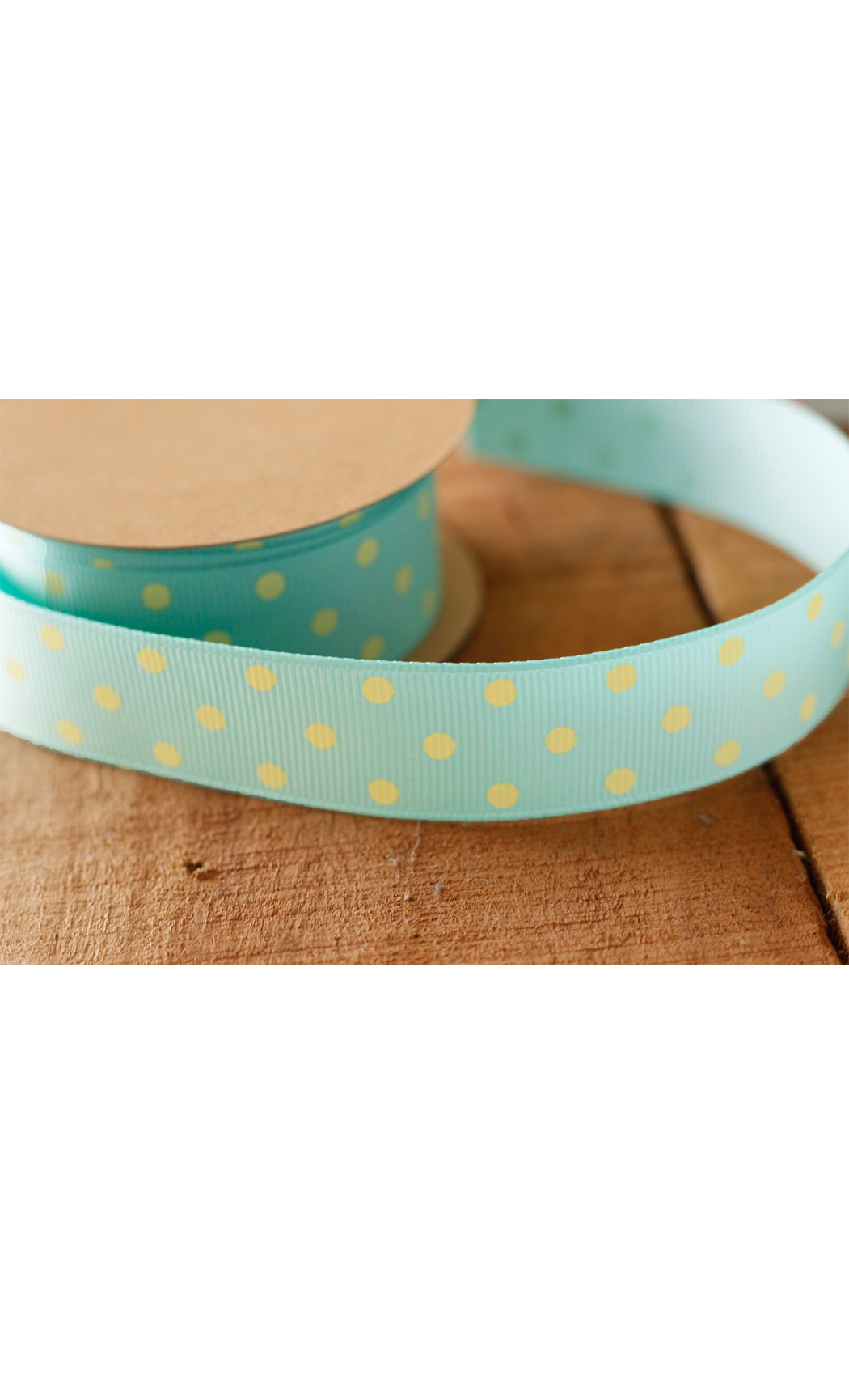 Aqua Ribbon with Yellow Polka Dots - Buy Online