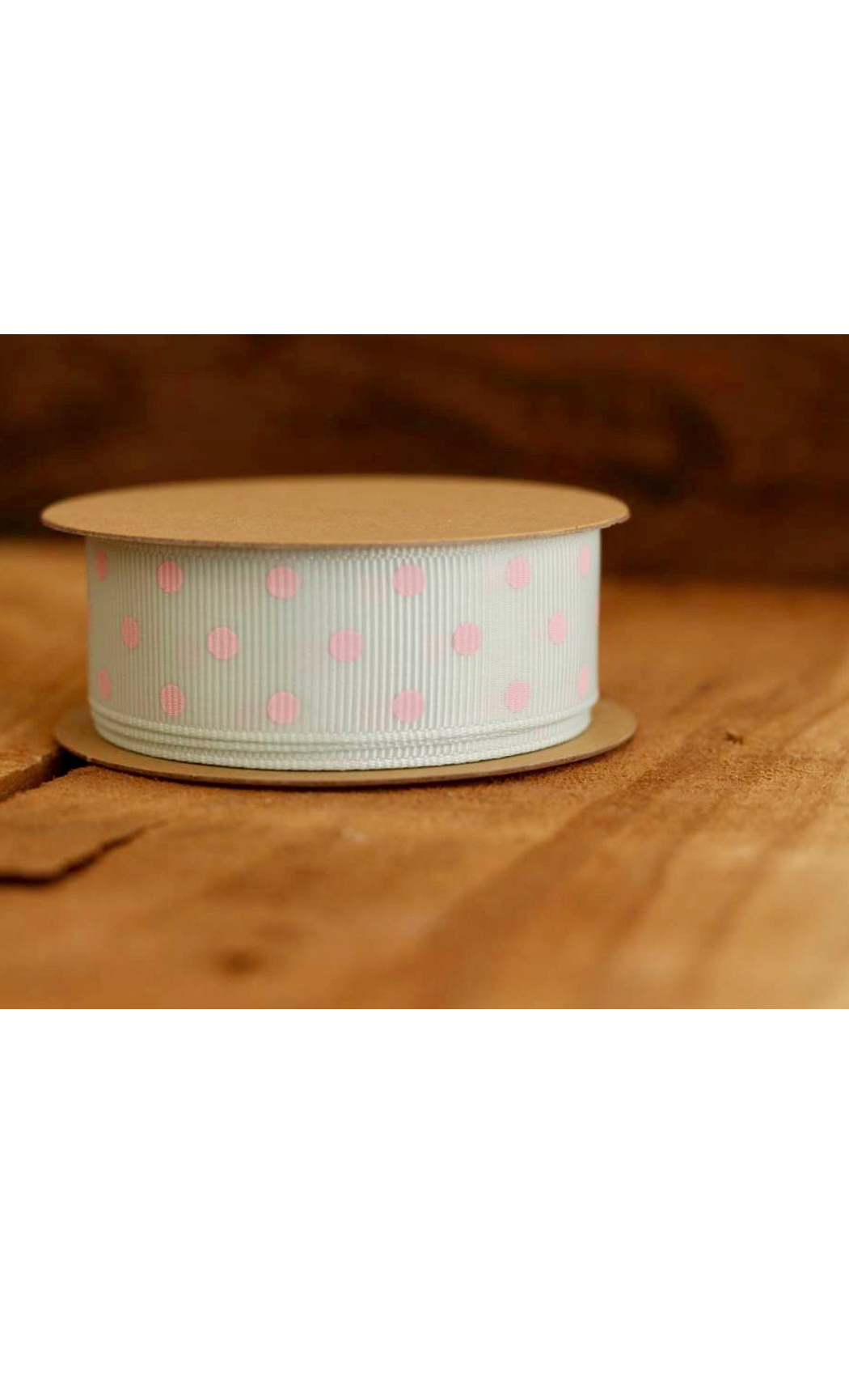 Mint Ribbon with Pink Polka Dots - Buy Online