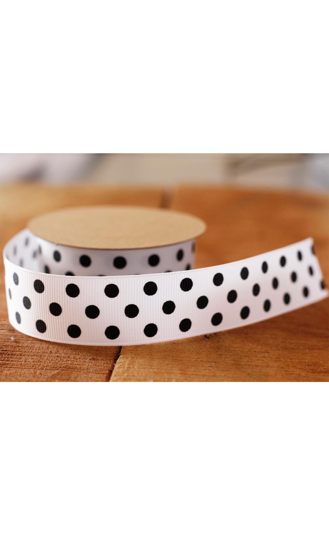 White Ribbon with Black Polka Dots - Buy Online