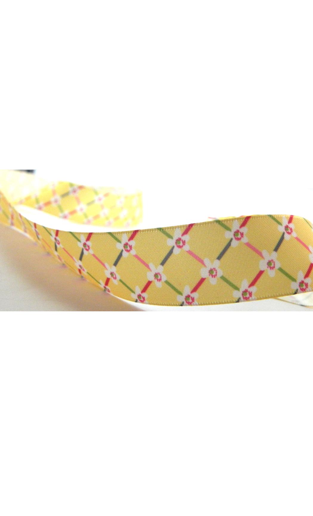 Yellow Satin Floral Printed Ribbon - Buy Online
