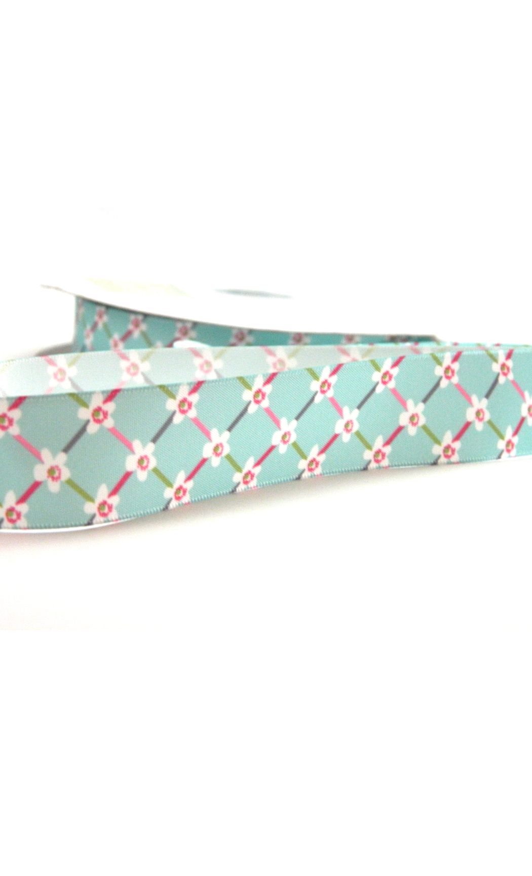 Green Satin Floral Printed Ribbon- Buy Online