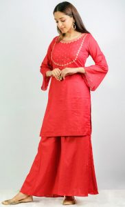 Red Kurta and Palazzo Set. Buy Online
