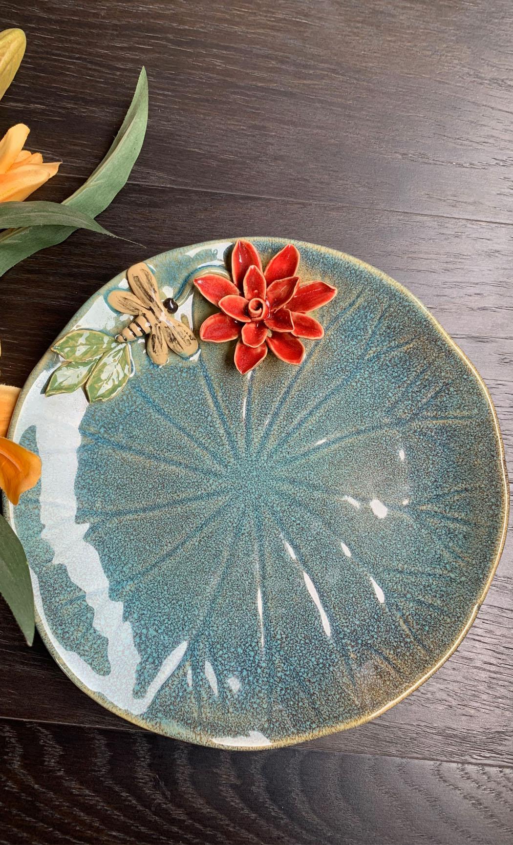 Light Blue Round Platter. Buy Online