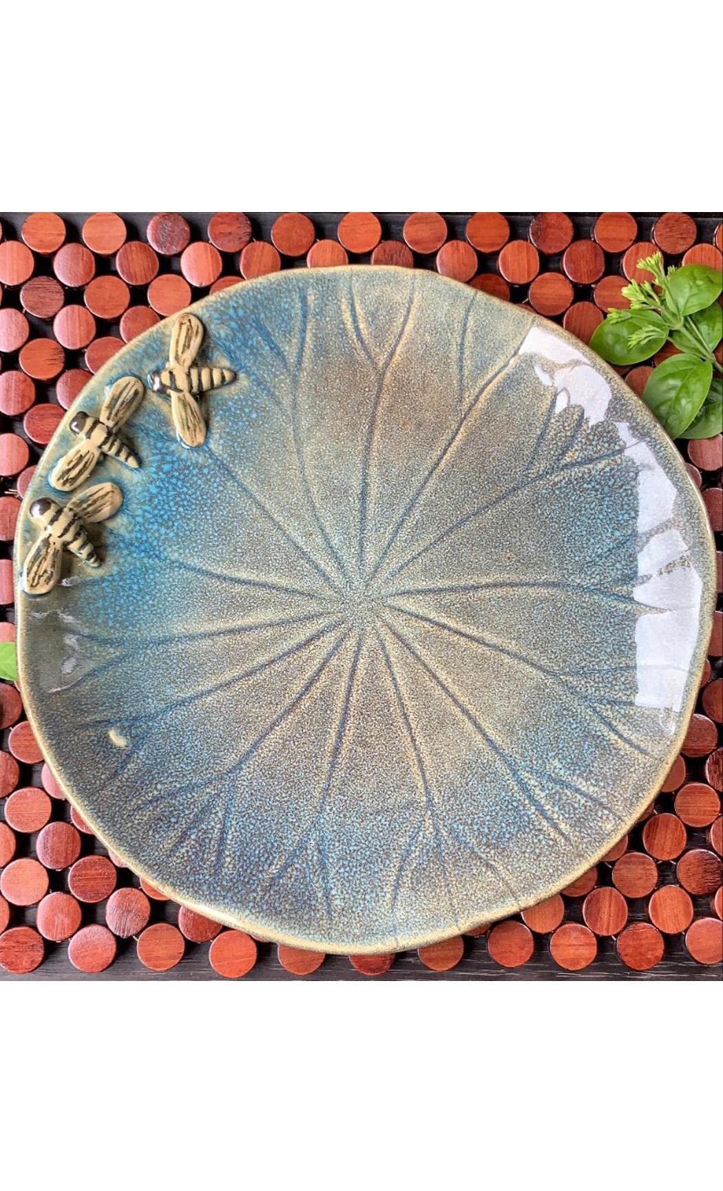 Light Blue Bee Round Platter. Buy Online