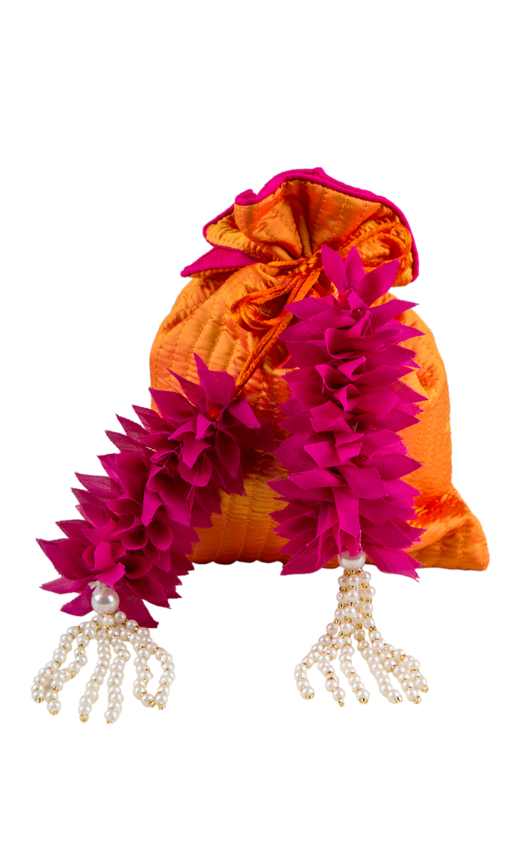 Orange Silk Quilted Potli with Pink and Pearl Tassels - Buy Online