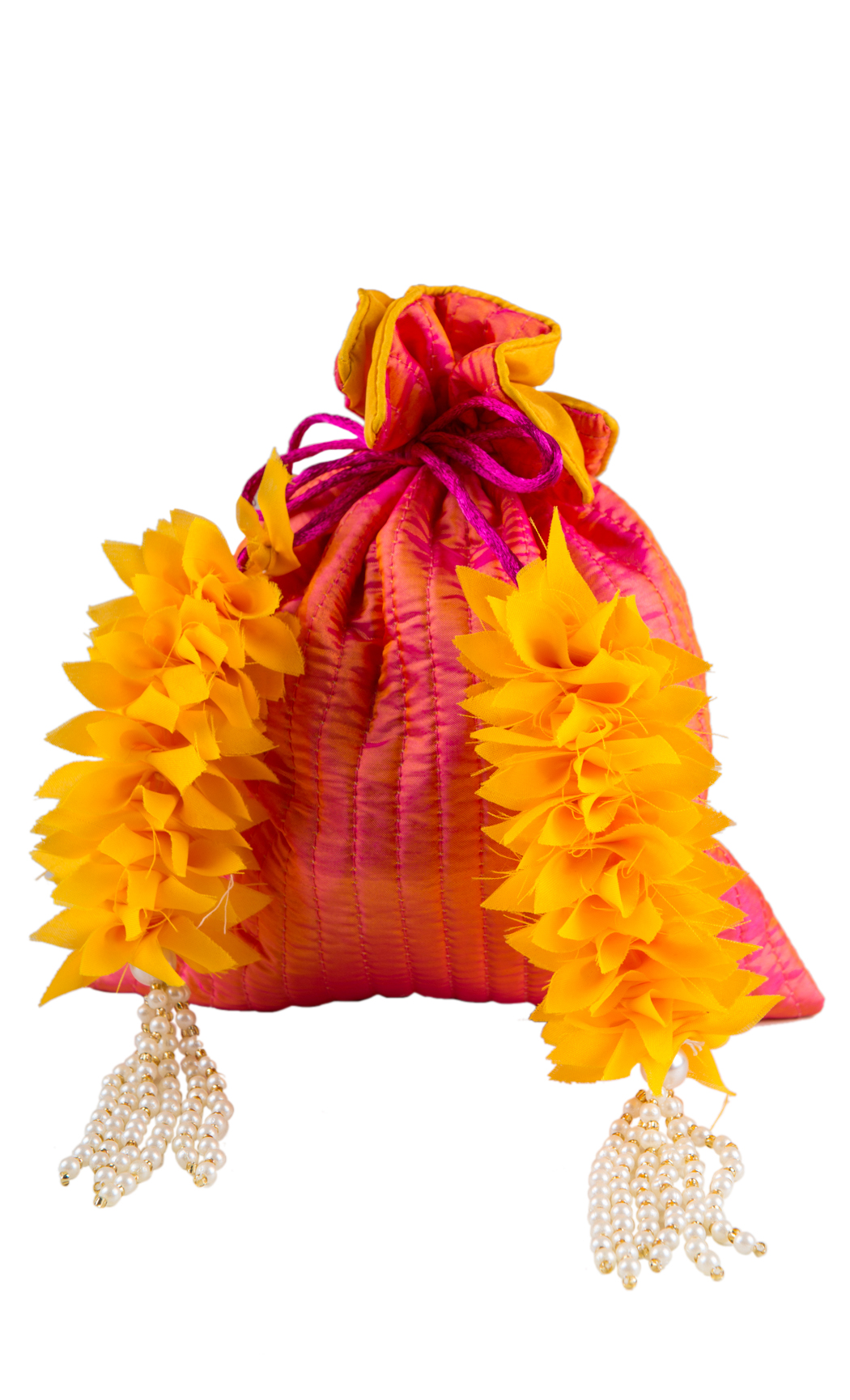 Orange Silk Quilted Potli with Yellow and Pearl Tassels - Buy Online