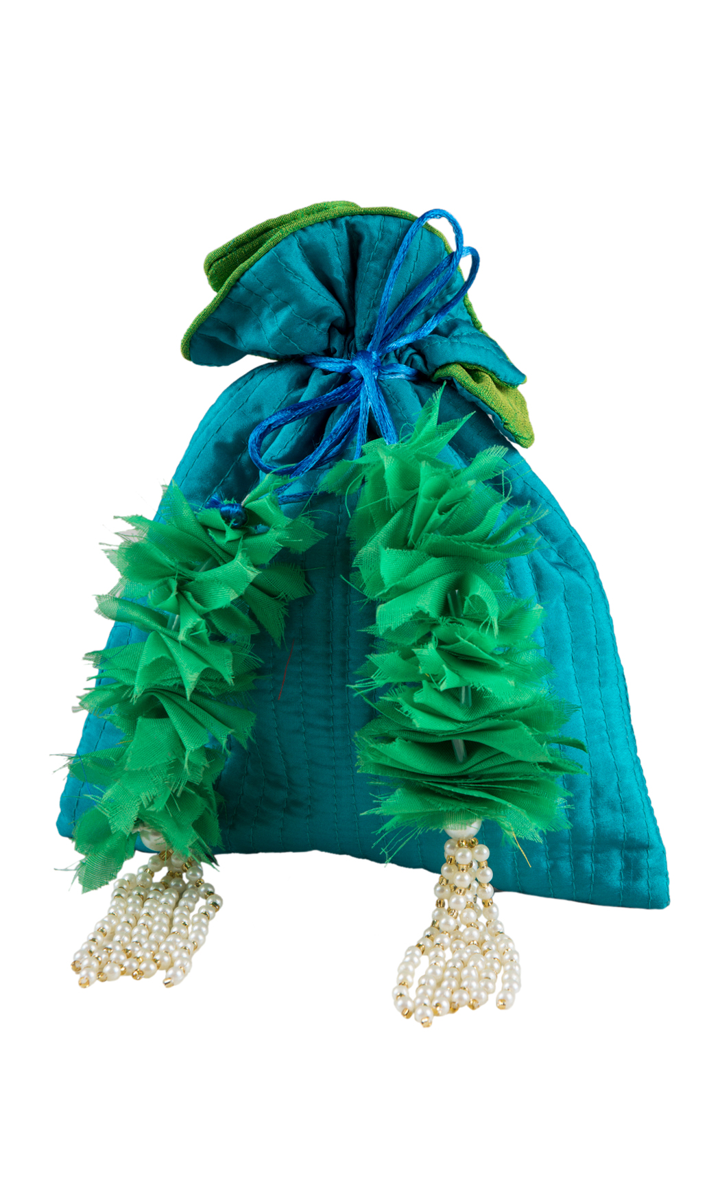 Blue Silk Quilted Potli with Green and Pearl Tassels - Buy Online