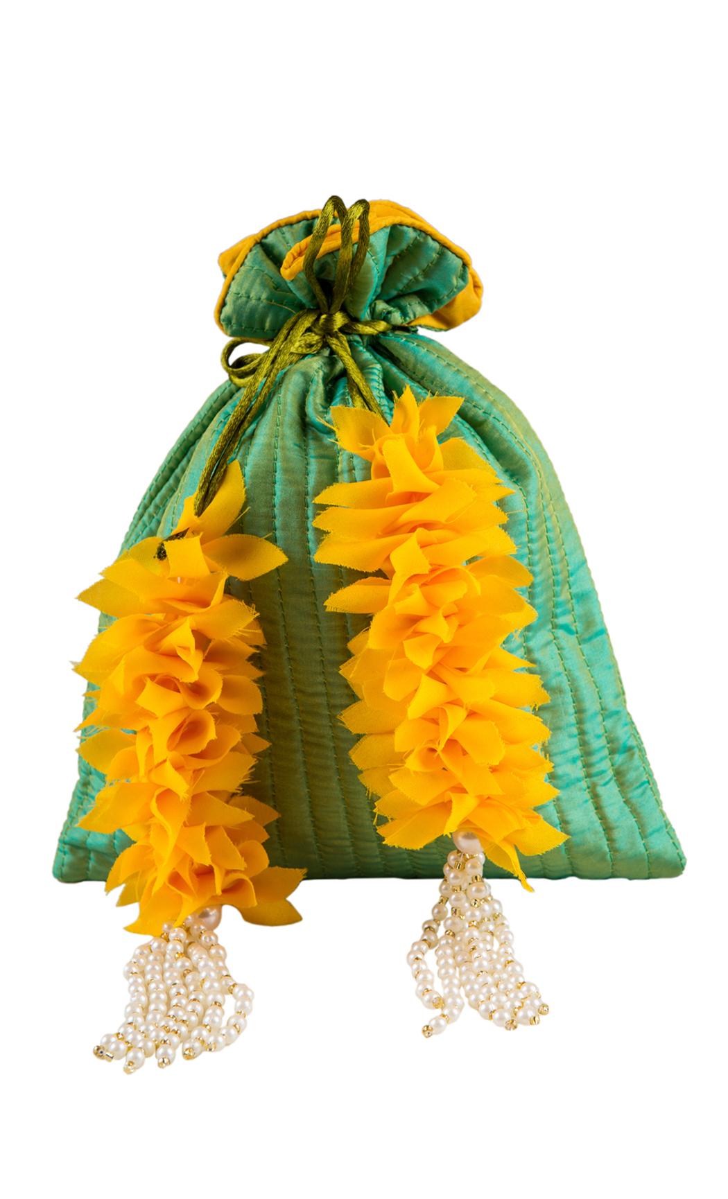 Green Silk Quilted Potli with Yellow and Pearl Tassels (Pack of 5) - Buy Online