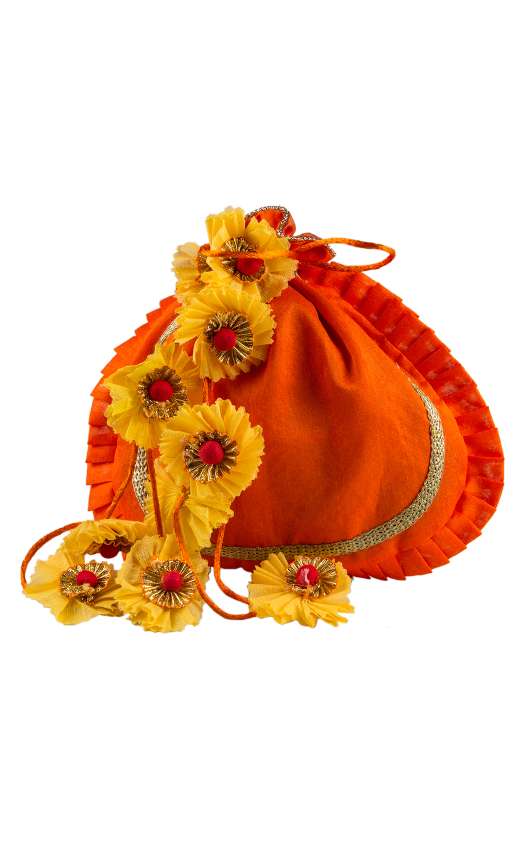 Orange Round Potli with Gold Gota Work and Yellow Floral Tassels (Pack of 5) - Buy Online