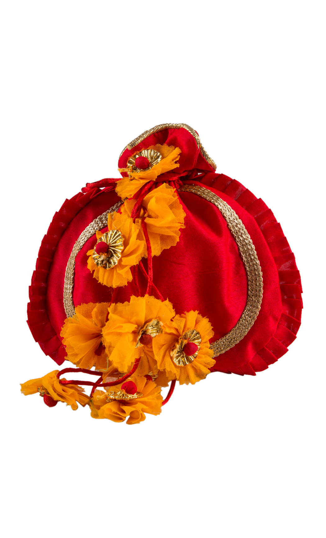 Red Round Potli with Gold Gota Work and Yellow Floral Tassels - Buy Online