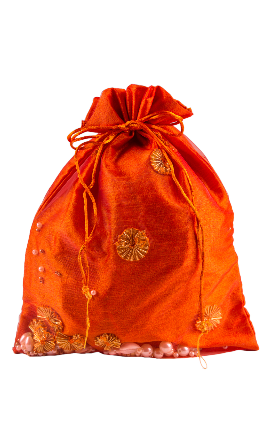 Orange Double Layered Potli with Pearl and Gota Work (Pack of 5) - Buy Online