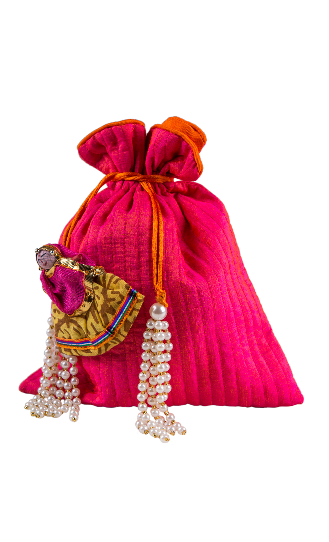 Pink Silk Quilted Potli with Doll Motifs and Pearl Tassels (Pack of 5) - Buy Online