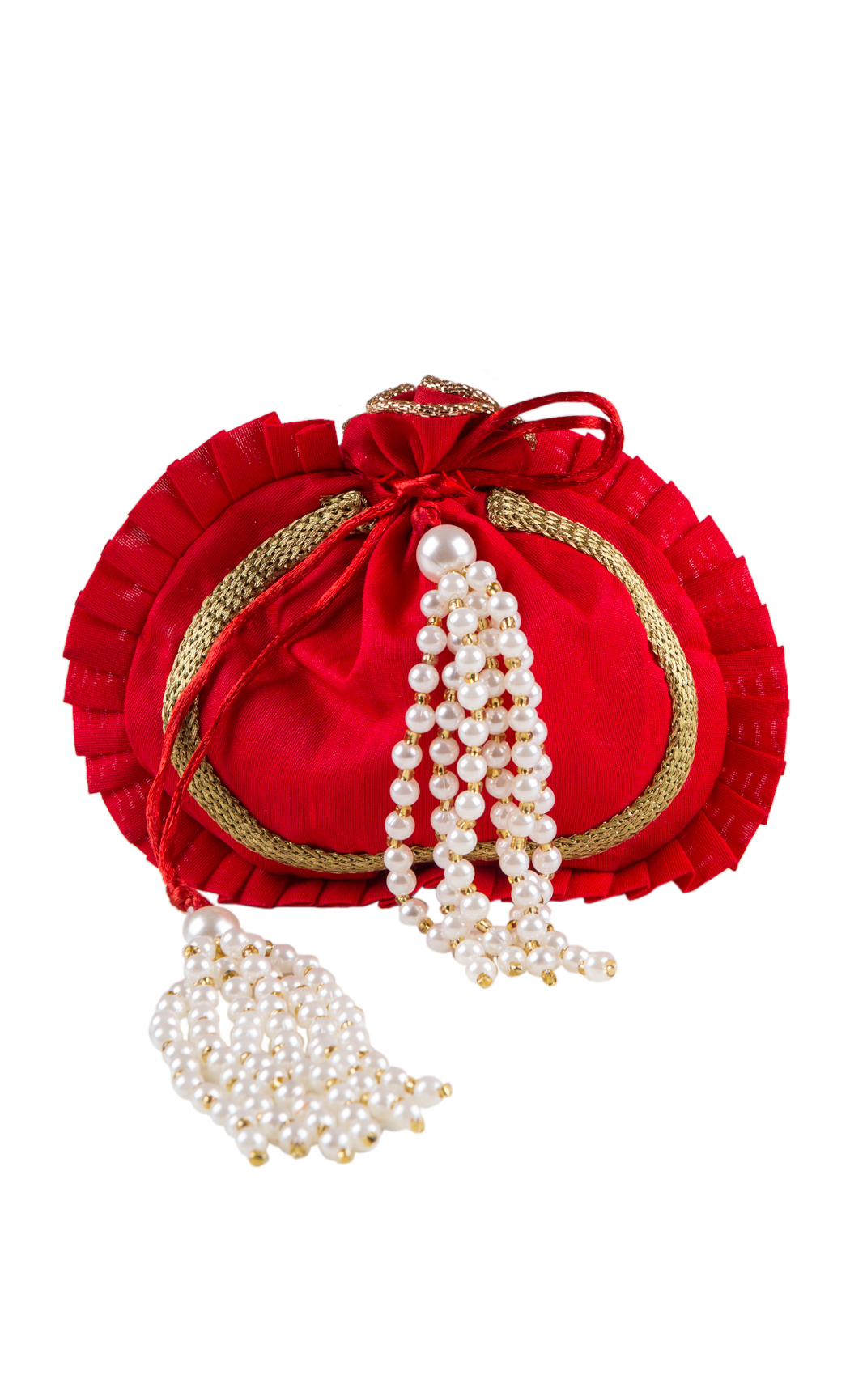 Red Round Potli with Gold Gota Work and Pearl Tassels - Buy Online