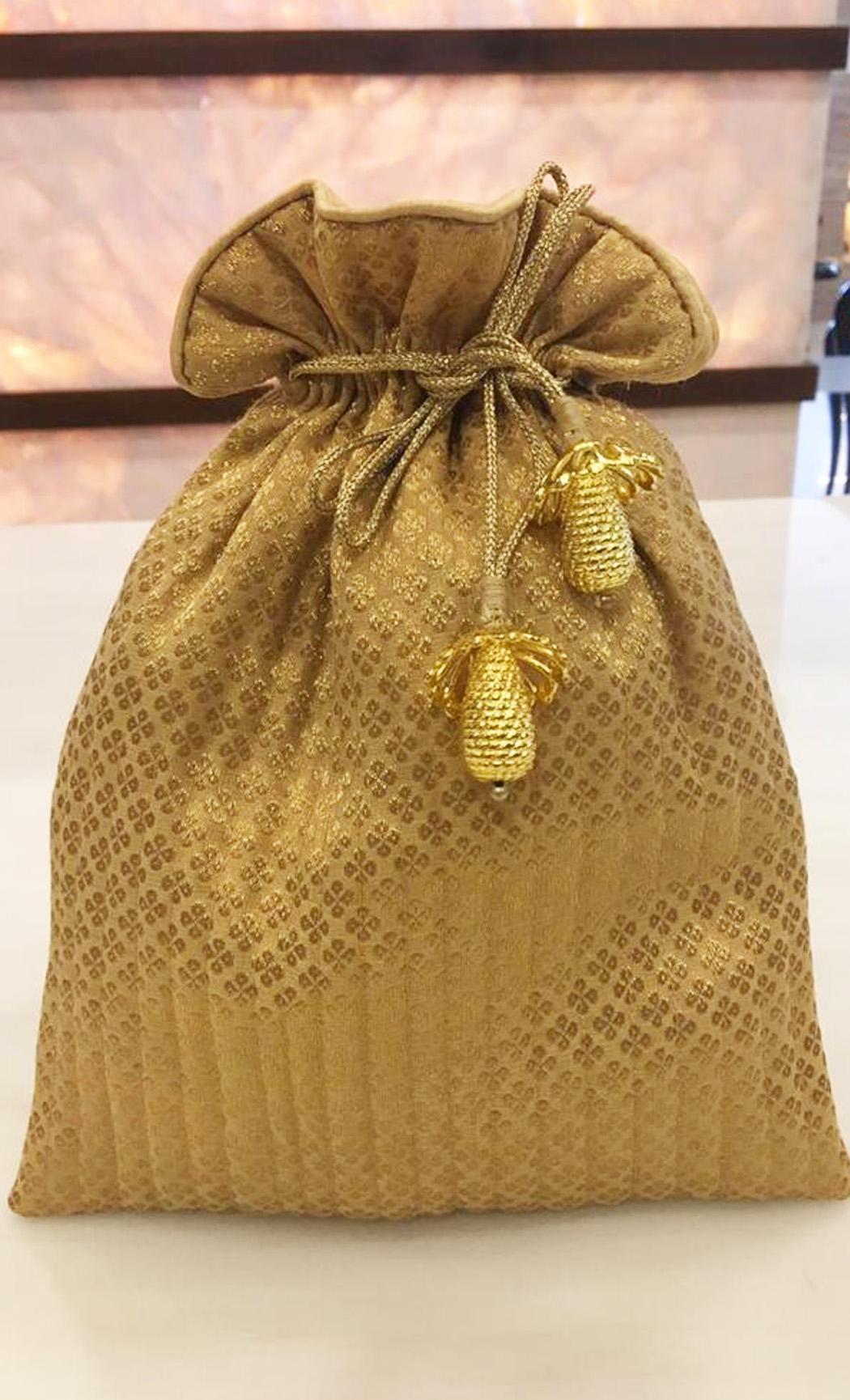 Gold Brocade Potli - Buy Online