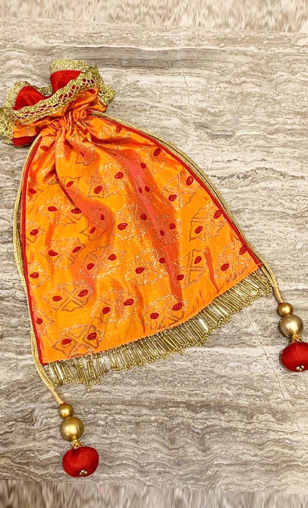 Orange and Red Printed Potli - Buy Online