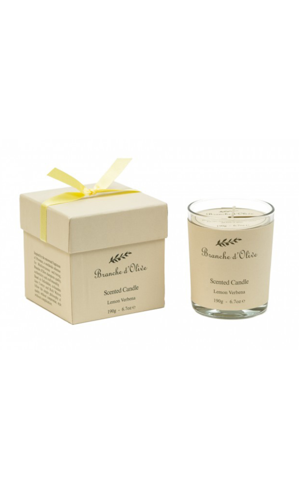 Lemon Verbena Scented Citrus Fragrance Wax Candle - Gifts by Branche d'Olive - Shop Online in India