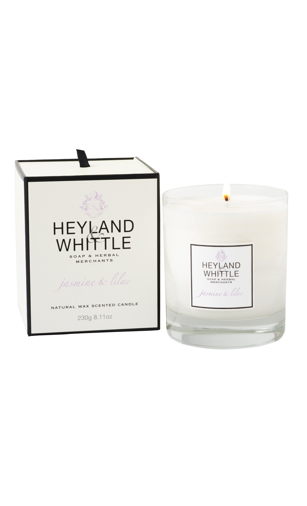 Jasmine & Lilac Fragrant Soy Wax Candle by Heyland & Whittle
