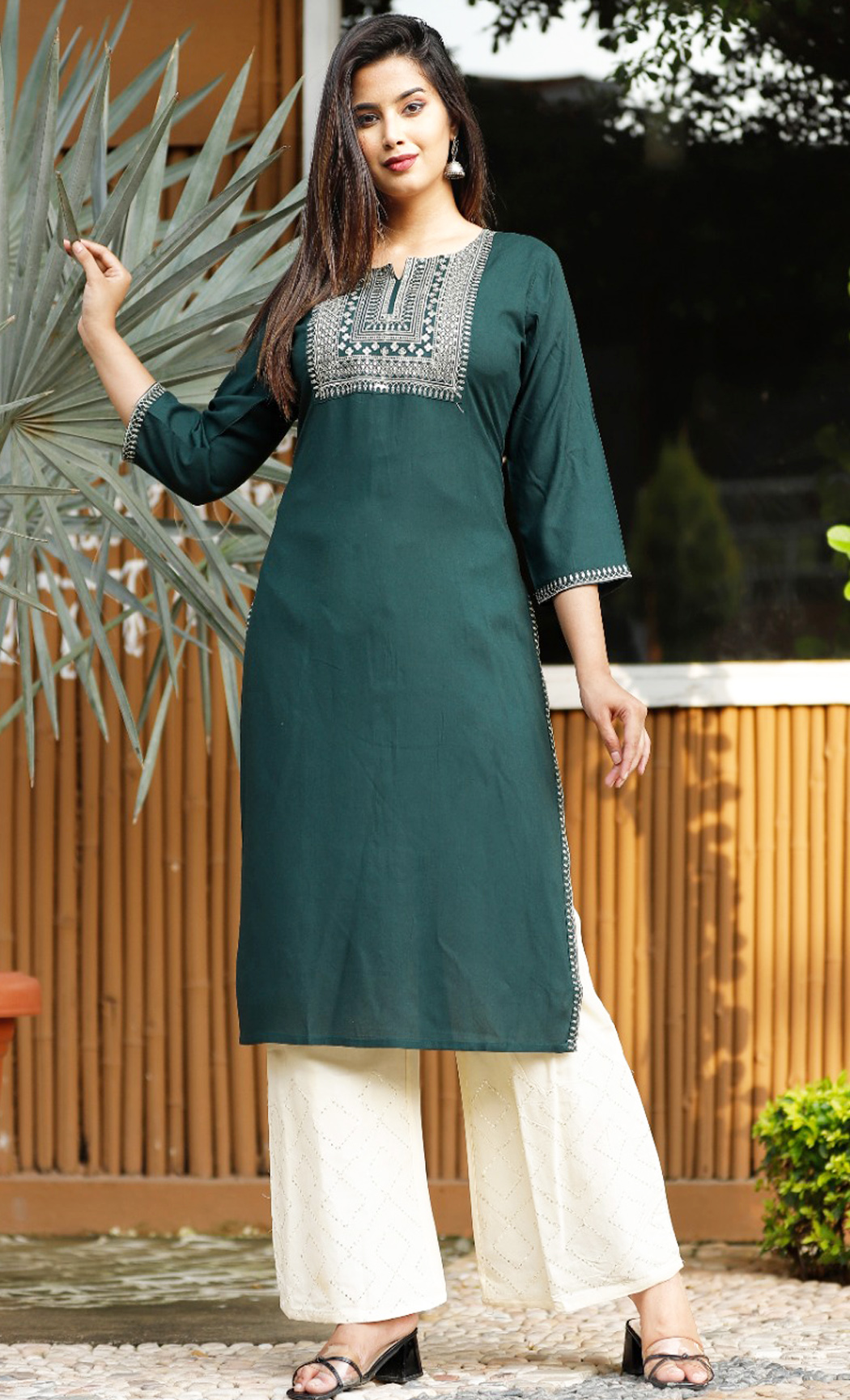 Green Kurta and Pants Set. Buy Online.
