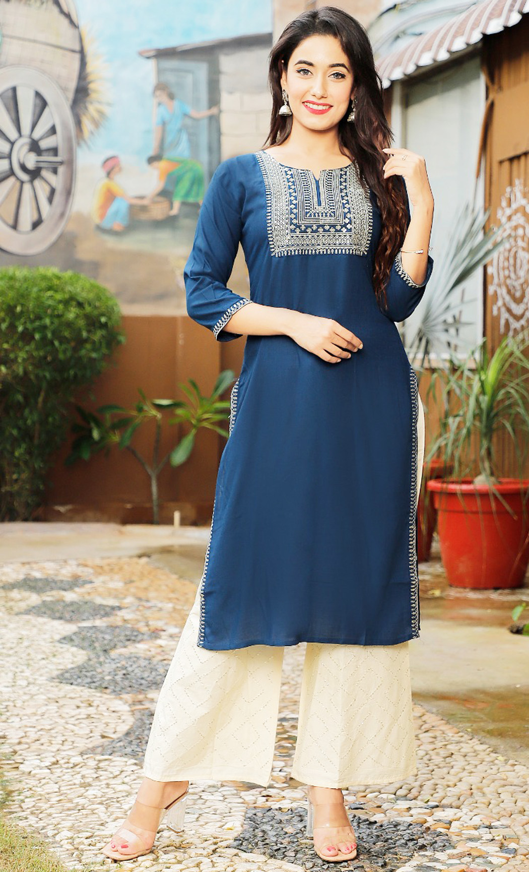 Blue Kurta and Pants Set. Buy Online.