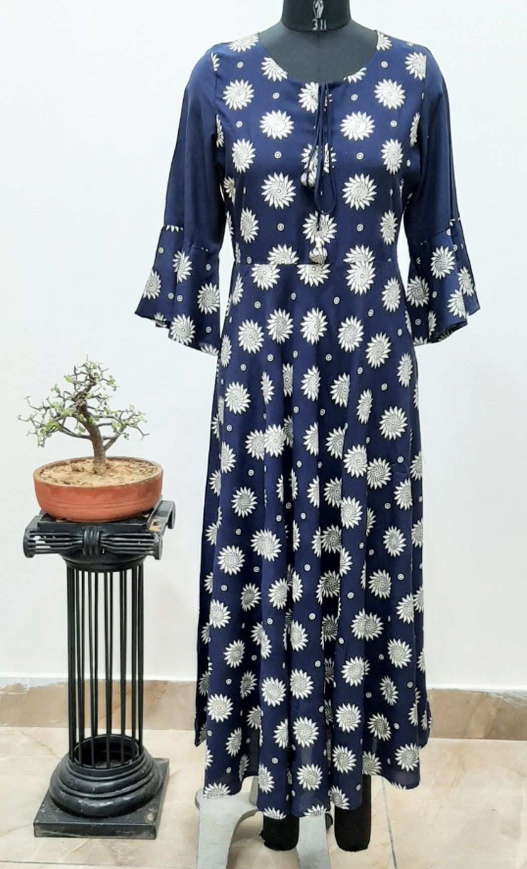 Blue Printed Long Rayon Kurta. Buy Online.