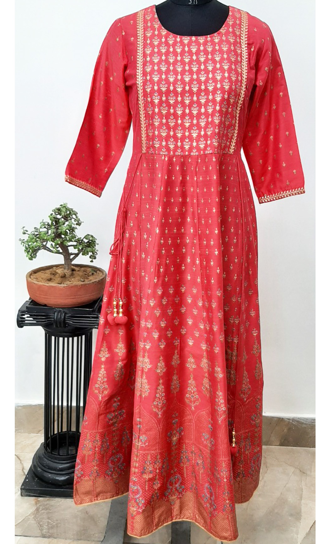 Red Long Muslin Kurta. Buy Online.