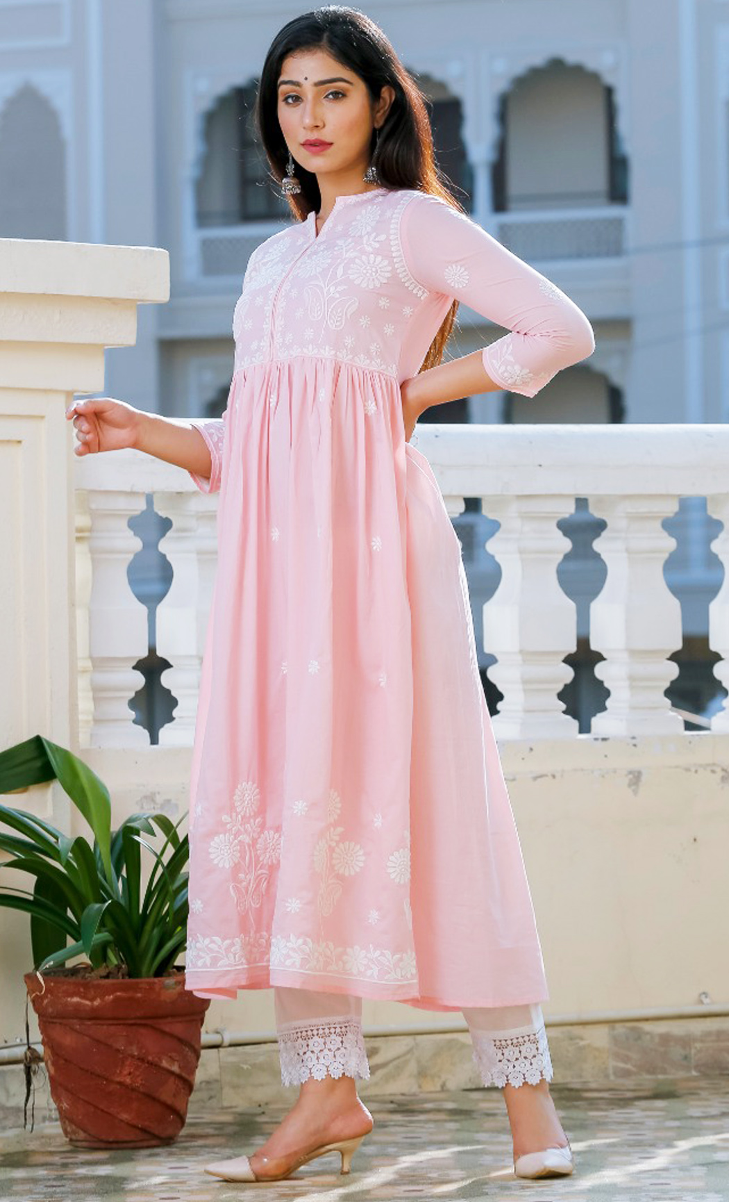 Pink Cotton Kurta Set. Buy Online.