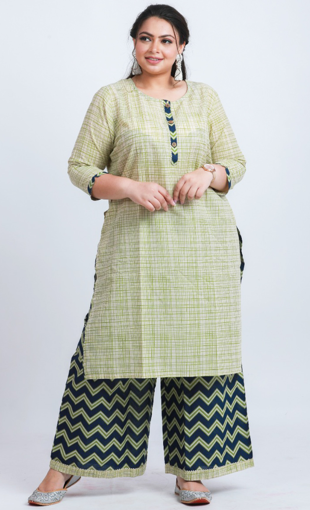 Green Cotton Kurta and Palazzo Set. Buy Online.
