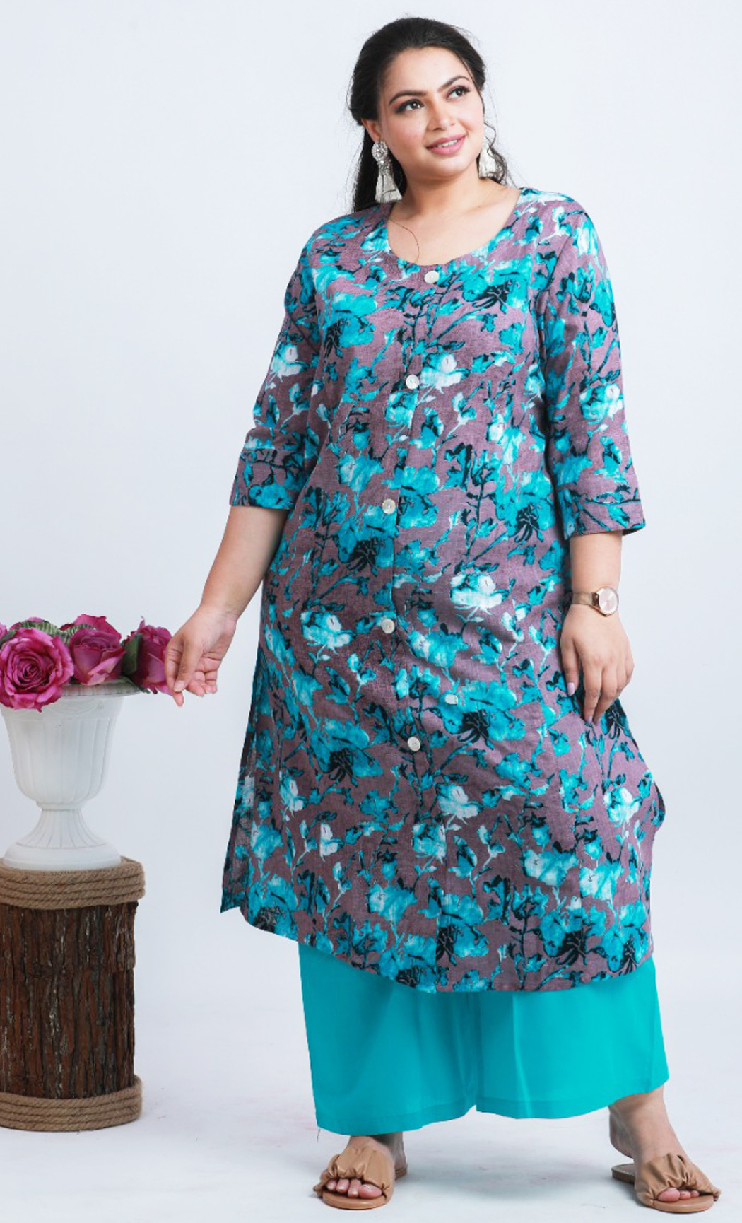 Blue Cotton Printed Kurta and Palazzo Set. Buy Online.