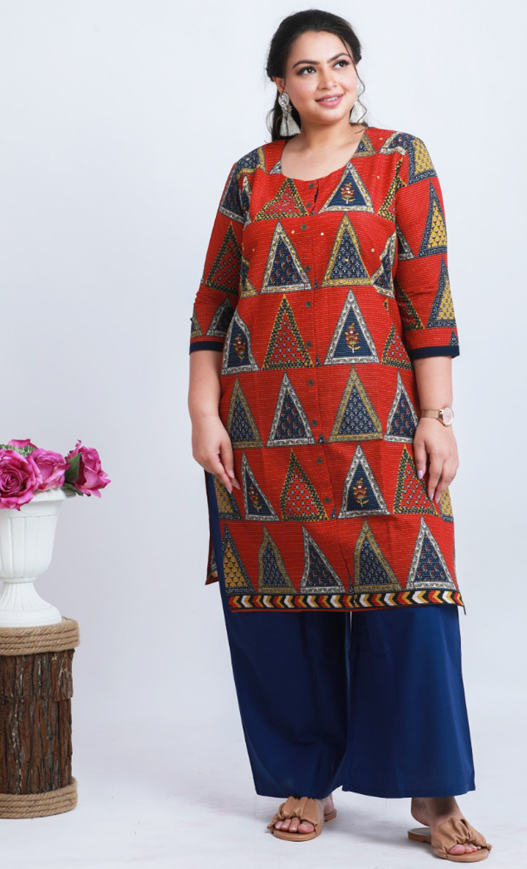 Red and Blue Cotton Printed Kurta and Palazzo Set. Buy Online.