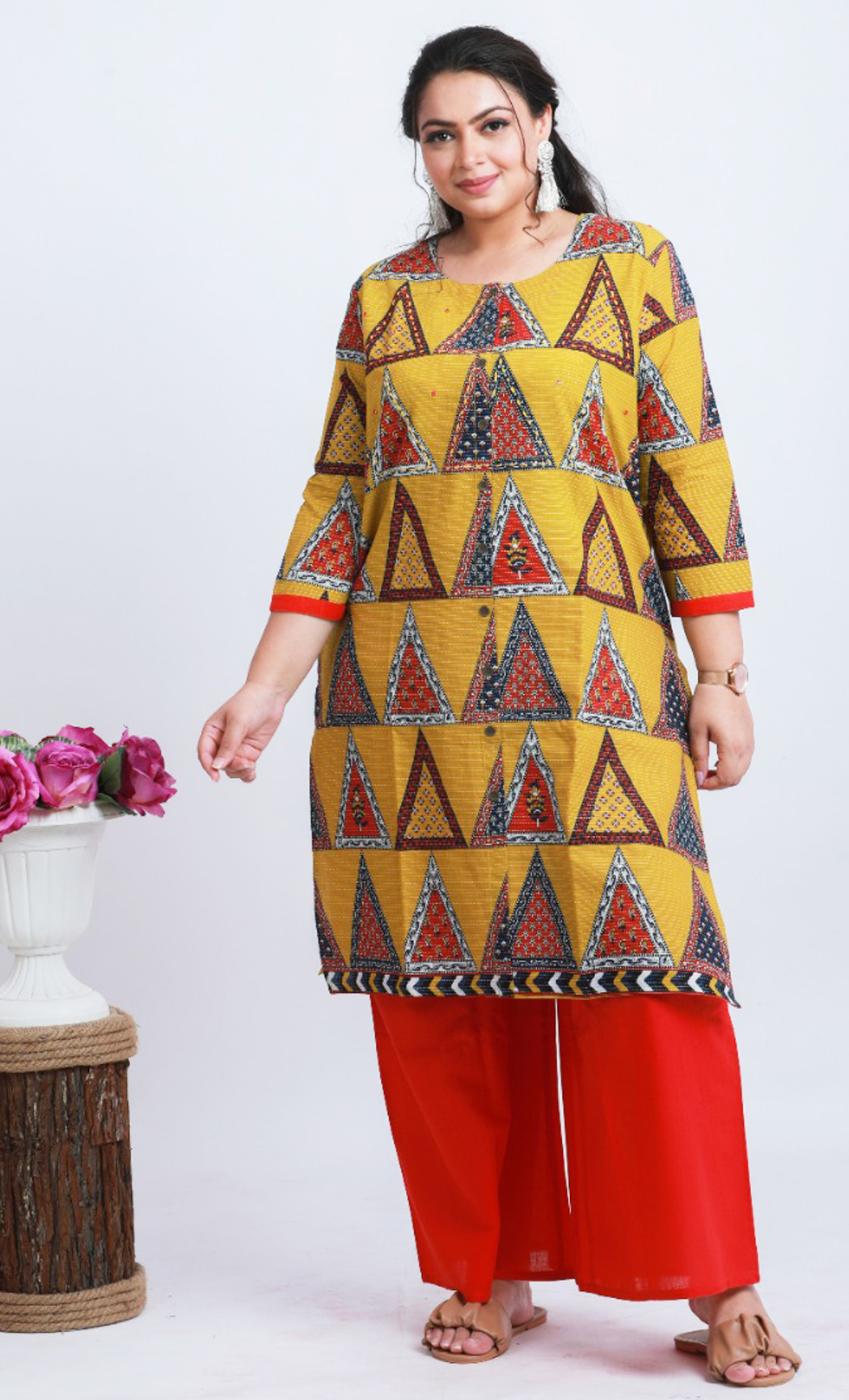 Red and Yellow Cotton Printed Kurta and Palazzo Set. Buy Online.