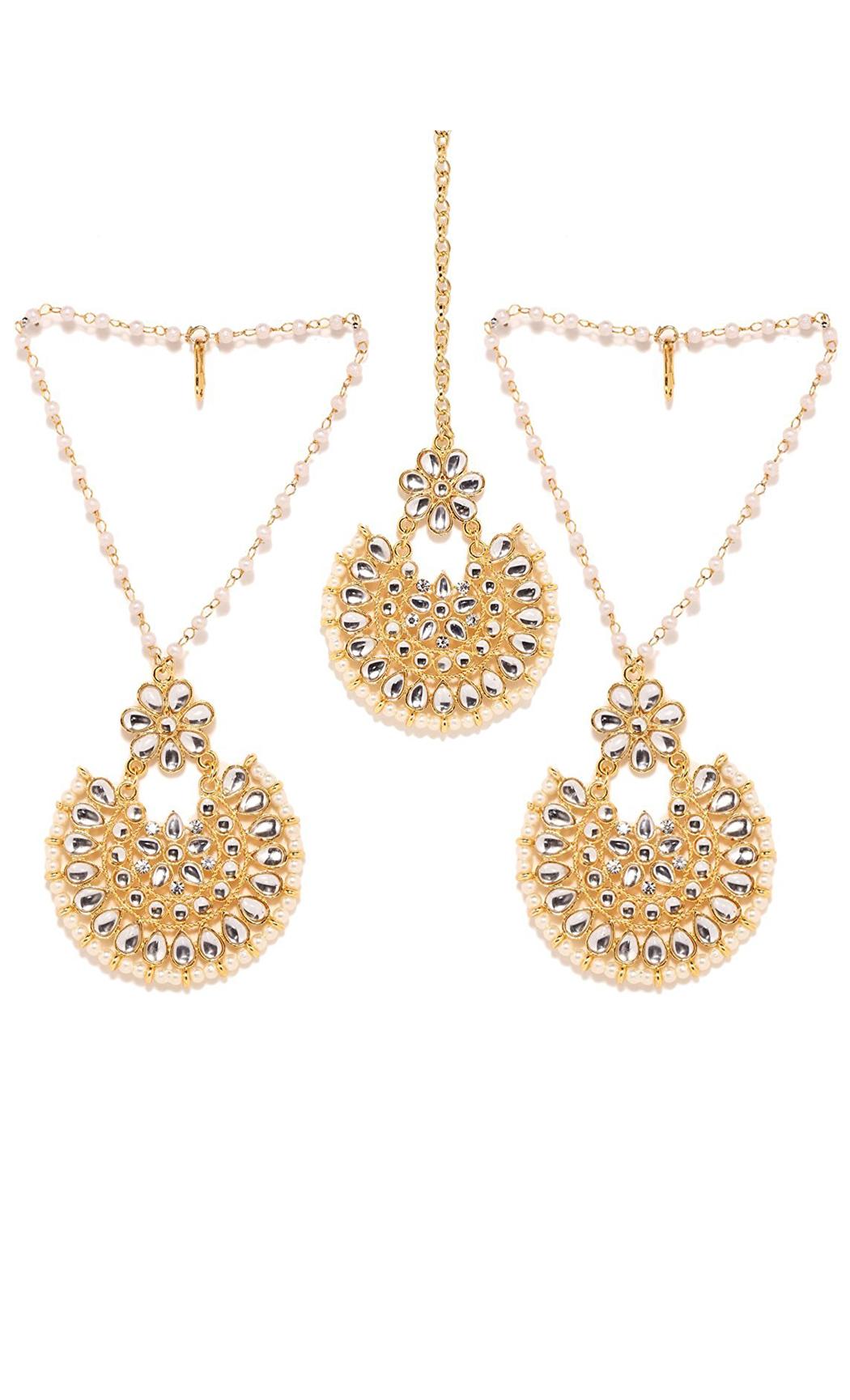 Kundan and Pearl Earrings with Ear Chains & Mangtika Set - Shop Online