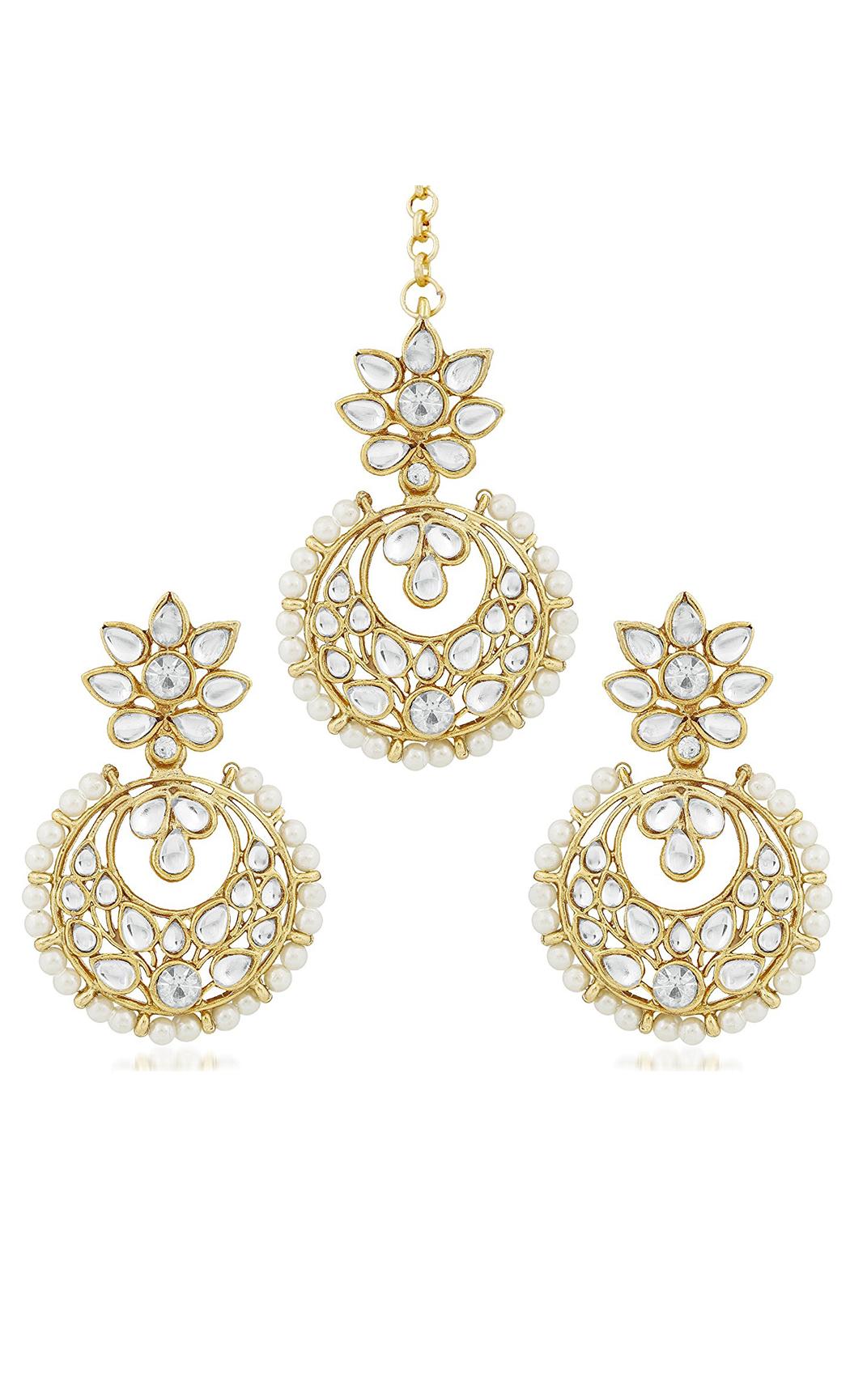 Kundan and Pearls Chandbalis & Mangtika Set - Shop Now