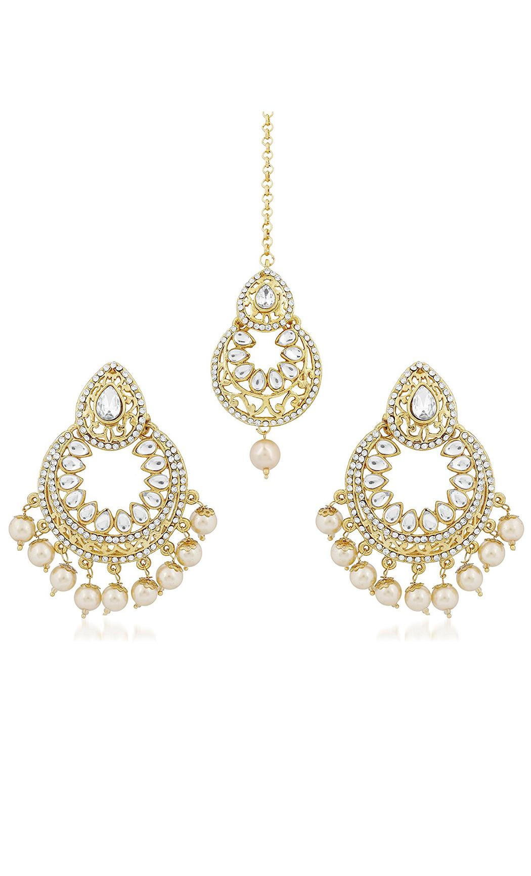 Kundan and Pearls Chandbalis Earrings & Mangtika Set - Shop Now