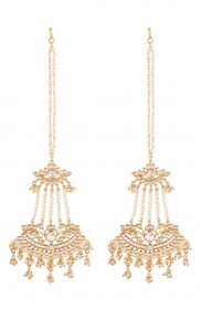 Kundan and Pearl Chandbalis with Hair Chains - Buy Now
