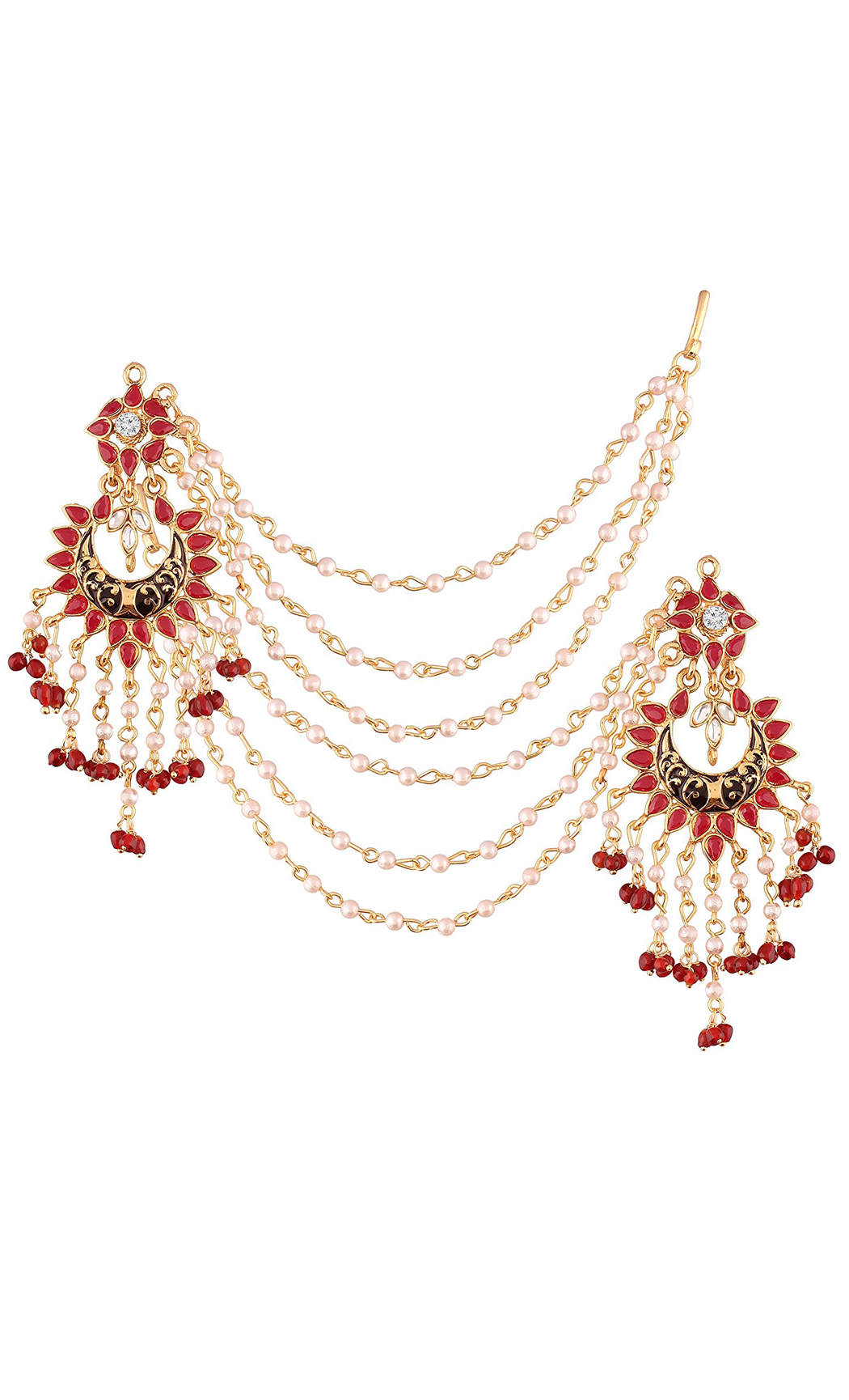 Red and Pearl Chandelier Earrings with Pearl Hair Chains - Shop Online