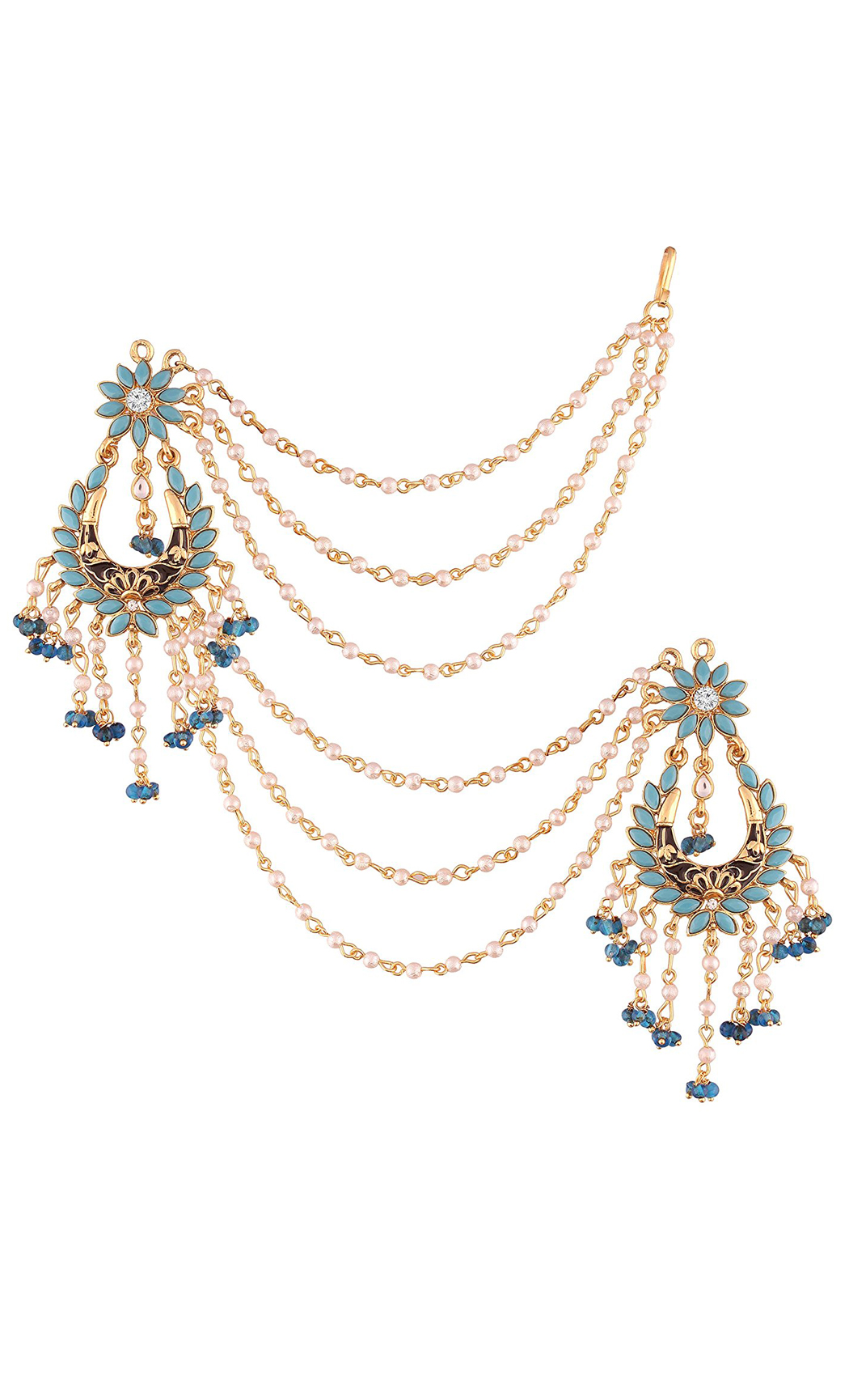Turquoise and Pearl Chandbali Earrings with Pearl Hair Chains - Shop Online