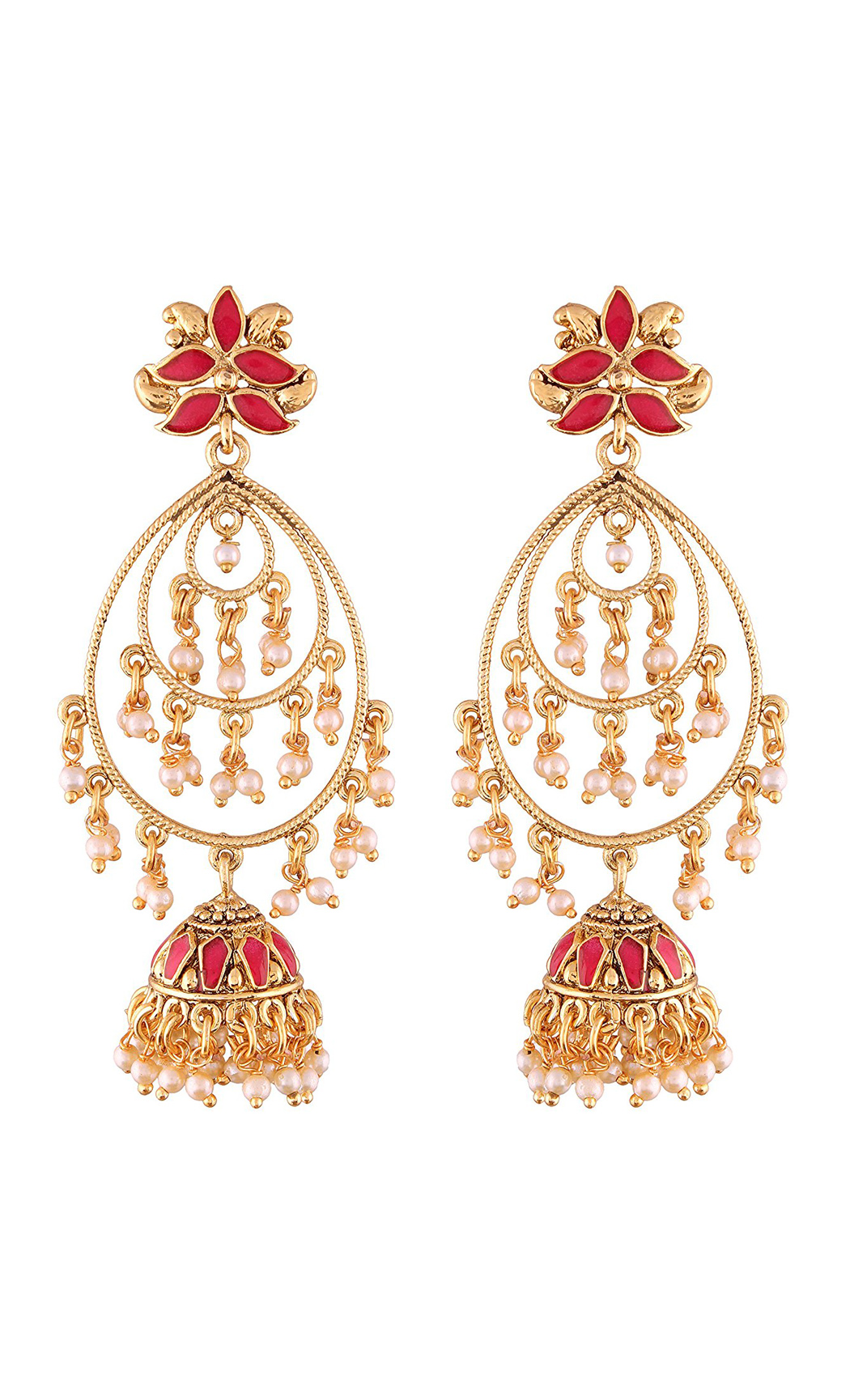 Red Gold and Pearl Long Jhumka Earrings - Shop Online
