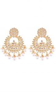 Kundan and Gold Plated Small Chandbalis - Shop Online