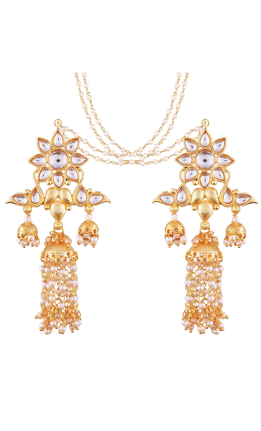 Long Kundan and Pearl Earrings with Hair Chains - Shop Online