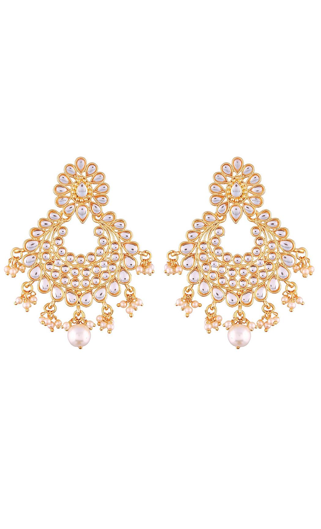 Kundan and Pearl Chandbalis - Shop Online