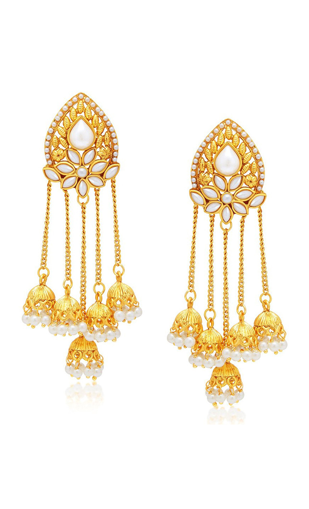 Gold Dangler Earrings with Small Pearl Jhumkas - Shop Now